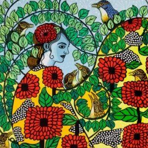 linocut by Gwen Scott, Beautiful Entanglement
